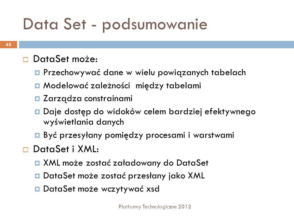 Data Set - podsumowanie Platformy Technologiczne 2012 42 DataSet może: Przechowywać dane w wielu powiązanych tabelach Modelować zależności między tabe