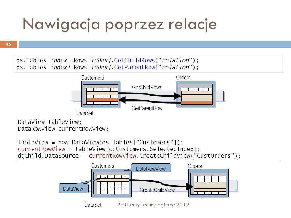 Nawigacja poprzez relacje Platformy Technologiczne 2012 45 ds.Tables[index].Rows[index].GetChildRows(