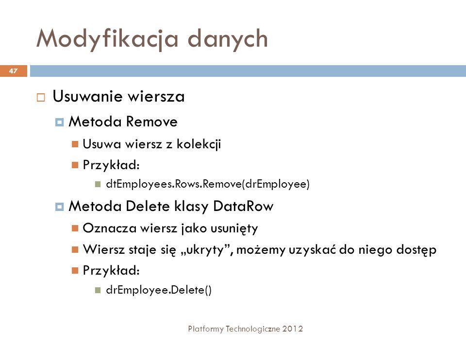 Modyfikacja danych Platformy Technologiczne 2012 47 Usuwanie wiersza Metoda Remove Usuwa wiersz z kolekcji Przykład: dtEmployees.Rows.Remove(drEmploye