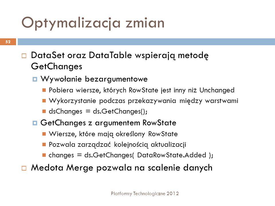Optymalizacja zmian Platformy Technologiczne 2012 52 DataSet oraz DataTable wspierają metodę GetChanges Wywołanie bezargumentowe Pobiera wiersze, któr