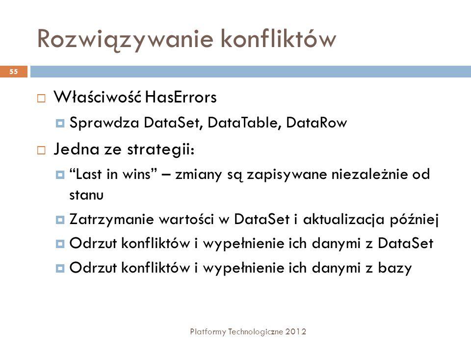 Rozwiązywanie konfliktów Platformy Technologiczne 2012 55 Właściwość HasErrors Sprawdza DataSet, DataTable, DataRow Jedna ze strategii: Last in wins –