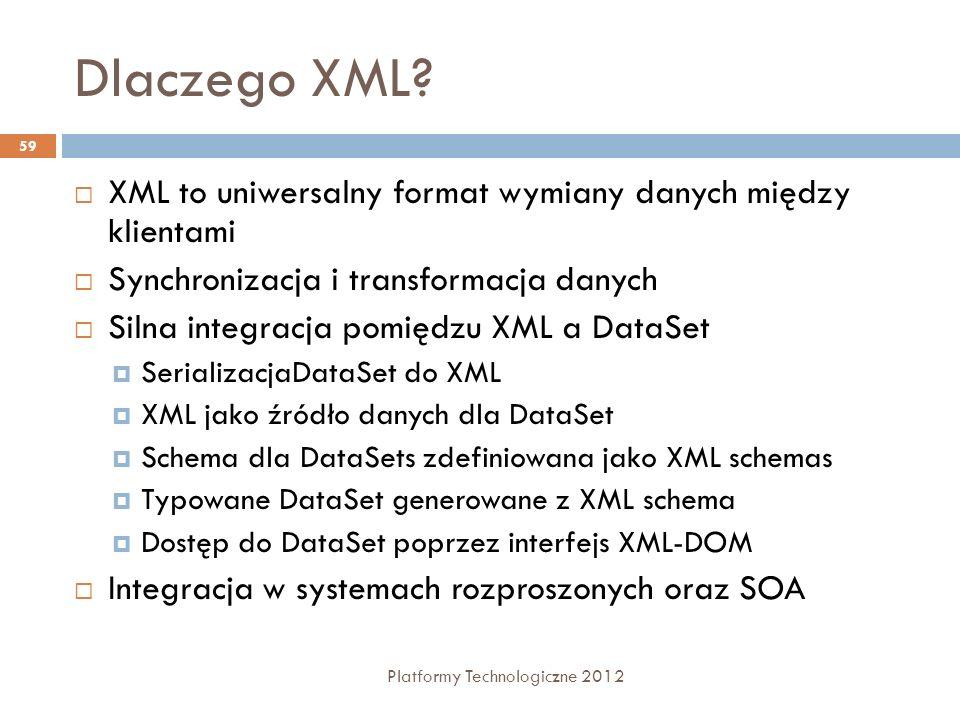 Dlaczego XML? Platformy Technologiczne 2012 59 XML to uniwersalny format wymiany danych między klientami Synchronizacja i transformacja danych Silna i