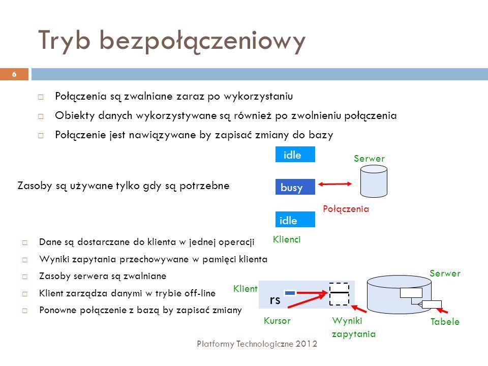 Modyfikacja danych Platformy Technologiczne 2012 47 Usuwanie wiersza Metoda Remove Usuwa wiersz z kolekcji Przykład: dtEmployees.Rows.Remove(drEmployee) Metoda Delete klasy DataRow Oznacza wiersz jako usunięty Wiersz staje się ukryty, możemy uzyskać do niego dostęp Przykład: drEmployee.Delete()