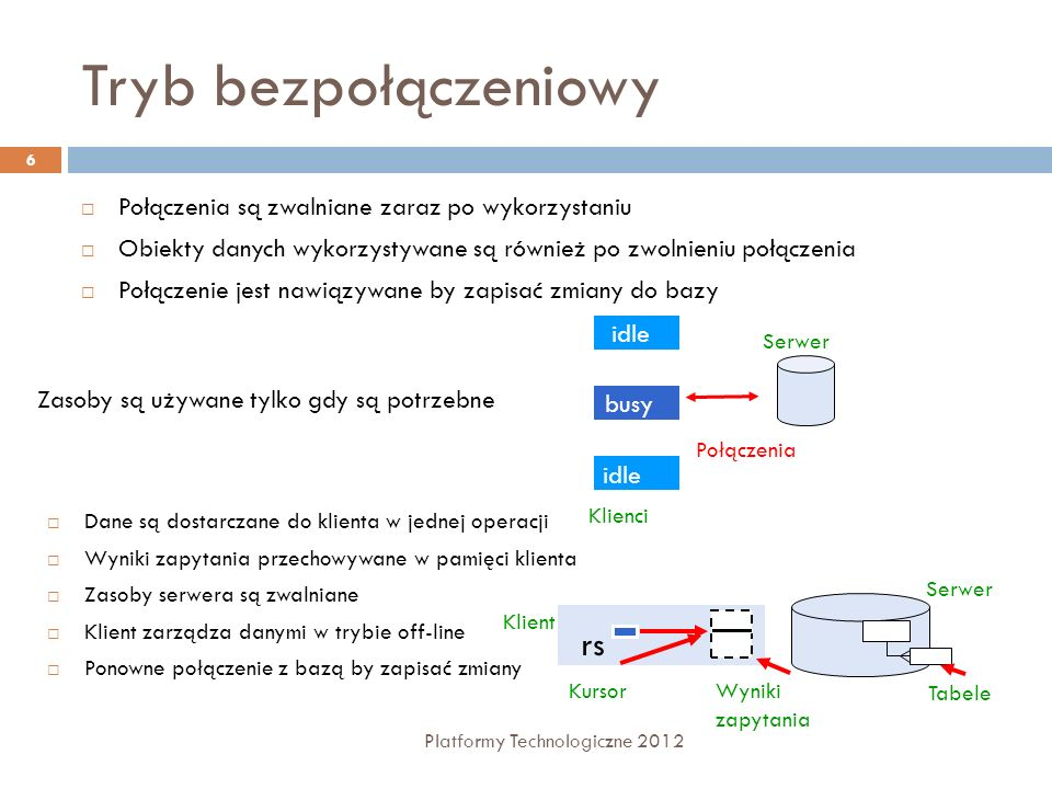 SqlDataSource Platformy Technologiczne 2012 57 Kofiguracja poleceń bazodanowych <asp:SqlDataSource ID= SqlDataSource1 runat= server ConnectionString= SelectCommand= SELECT * FROM [Kategorie] DeleteCommand= DELETE FROM [Kategorie] WHERE [KatID] = @KatID InsertCommand= INSERT INTO [Kategorie] ([Nazwa]) VALUES (@Nazwa) UpdateCommand= UPDATE [Kategorie] SET [Nazwa] = @Nazwa WHERE [KatID] = @KatID >