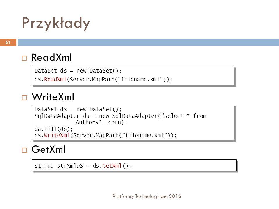 Przykłady Platformy Technologiczne 2012 61 ReadXml WriteXml GetXml DataSet ds = new DataSet(); ds.ReadXml(Server.MapPath(
