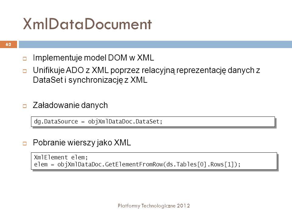 XmlDataDocument Platformy Technologiczne 2012 62 Implementuje model DOM w XML Unifikuje ADO z XML poprzez relacyjną reprezentację danych z DataSet i s