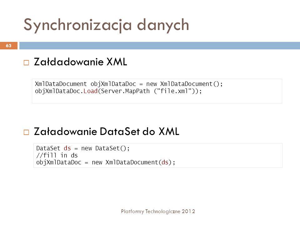 Synchronizacja danych Platformy Technologiczne 2012 63 Załdadowanie XML Załadowanie DataSet do XML XmlDataDocument objXmlDataDoc = new XmlDataDocument