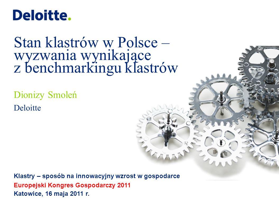 © 2011 Deloitte 2 Agenda Wnioski z raportu Benchmarking klastrów w Polsce – 20103 Główne czynniki rozwoju klastrów w Polsce9 Wnioski i rekomendacje16 W niniejszej prezentacji wykorzystano fragmenty raportu Benchmarking klastrów w Polsce – 2010 przygotowanego w ramach projektu Polskiej Agencji Rozwoju Przedsiębiorczości przez Deloitte Business Consulting S.A.