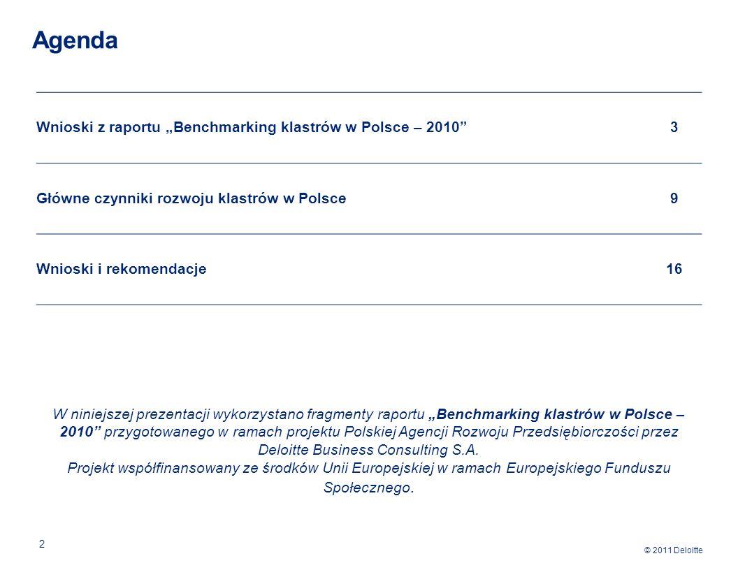 © 2011 Deloitte 13 Co wpływa na rozwój klastrów – czynniki zewnętrzne Zewnętrzne instrumenty wsparcia klastrów Polityka władz regionalnych Regionalne Programy Operacyjne Strategie rozwoju klastrów dla województw Regionalne Strategie Innowacji Polityka władz krajowych Programy Operacyjne realizowane na szczeblu krajowym Programy wsparcia klastrów