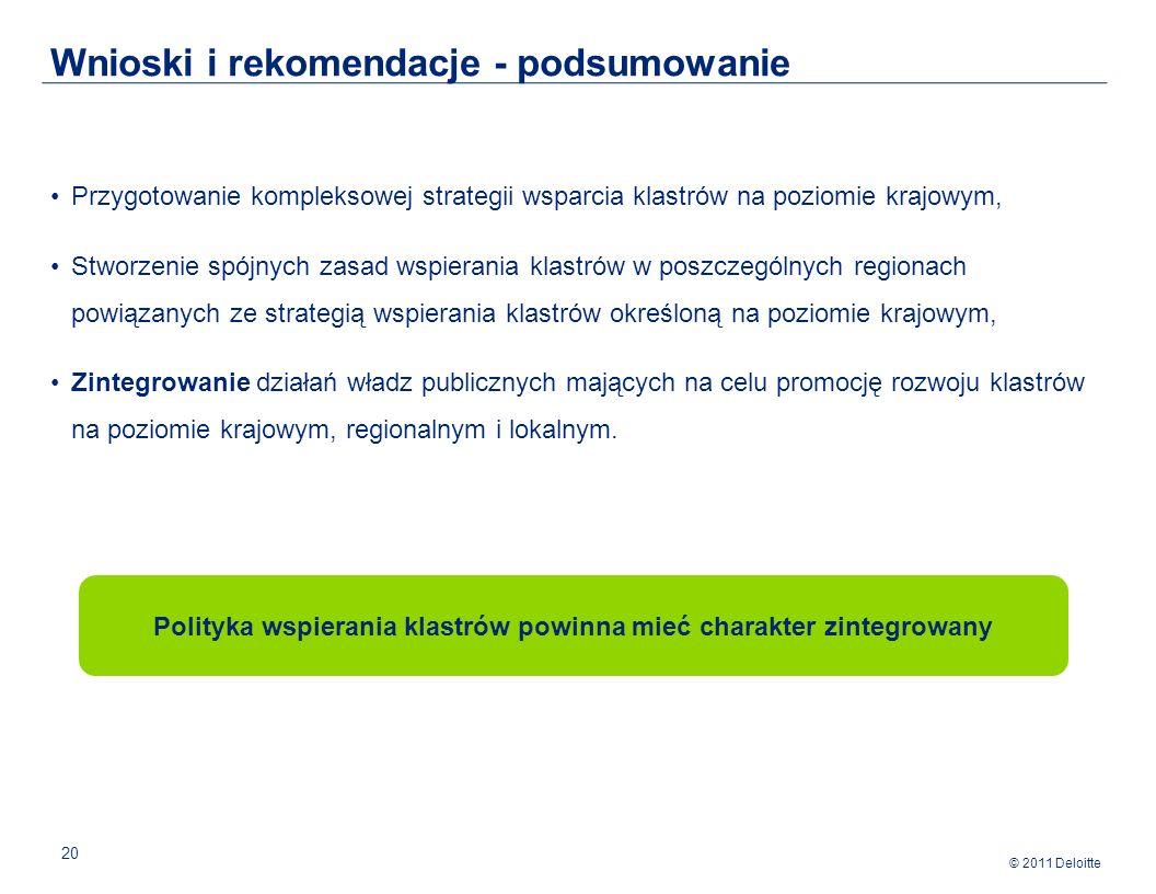 © 2011 Deloitte 20 Przygotowanie kompleksowej strategii wsparcia klastrów na poziomie krajowym, Stworzenie spójnych zasad wspierania klastrów w poszczególnych regionach powiązanych ze strategią wspierania klastrów określoną na poziomie krajowym, Zintegrowanie działań władz publicznych mających na celu promocję rozwoju klastrów na poziomie krajowym, regionalnym i lokalnym.