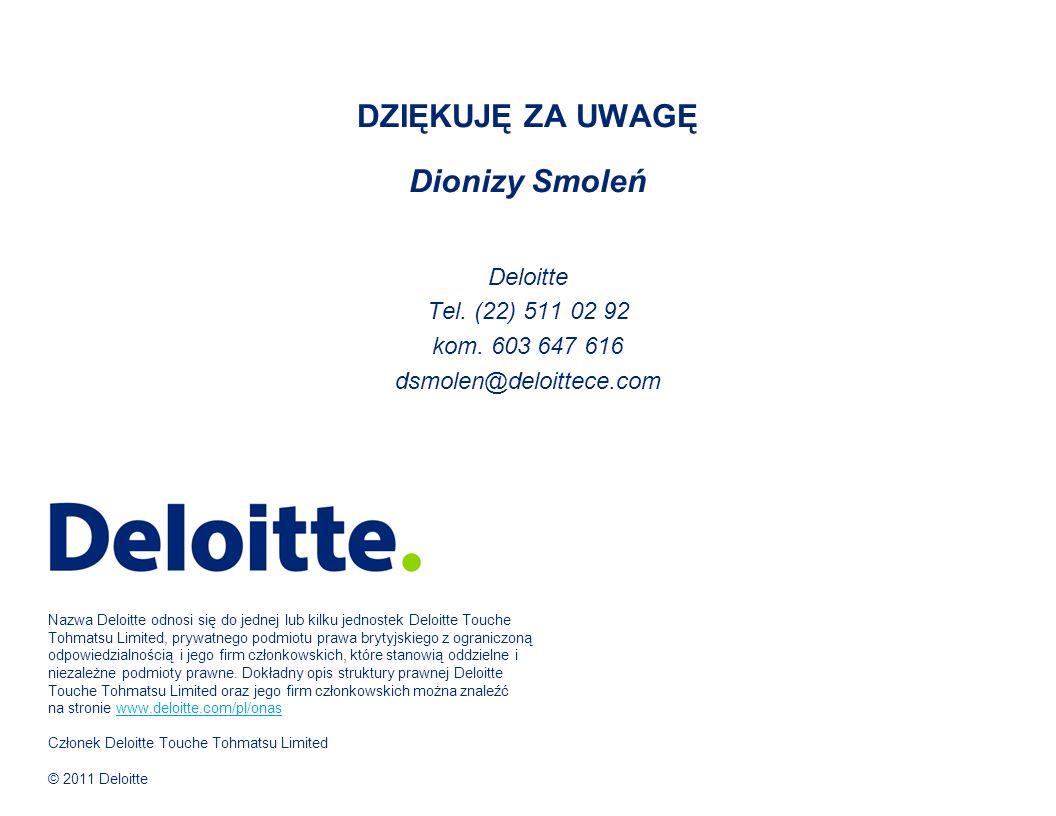 Nazwa Deloitte odnosi się do jednej lub kilku jednostek Deloitte Touche Tohmatsu Limited, prywatnego podmiotu prawa brytyjskiego z ograniczoną odpowiedzialnością i jego firm członkowskich, które stanowią oddzielne i niezależne podmioty prawne.