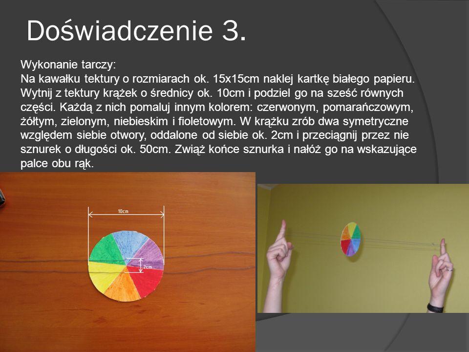 Doświadczenie 3. Wykonanie tarczy: Na kawałku tektury o rozmiarach ok. 15x15cm naklej kartkę białego papieru. Wytnij z tektury krążek o średnicy ok. 1