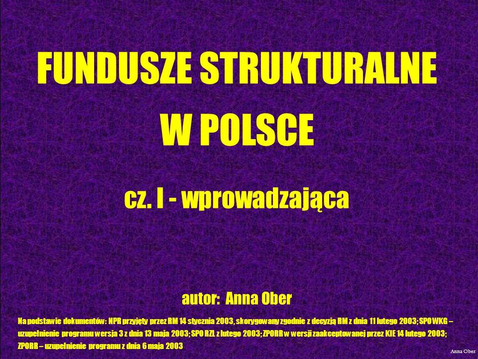 SEKTOROWY PROGRAM OPERACYJNY WZROST KONKURENCYJNOŚCI GOSPODARKI Anna Ober
