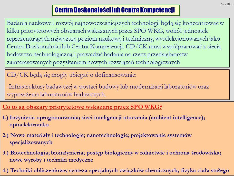 Centra Doskonałości lub Centra Kompetencji Badania naukowe i rozwój najnowocześniejszych technologii będą się koncentrować w kilku priorytetowych obszarach wskazanych przez SPO WKG, wokół jednostek reprezentujących najwyższy poziom naukowy i techniczny, wyselekcjonowanych jako Centra Doskonałości lub Centra Kompetencji.