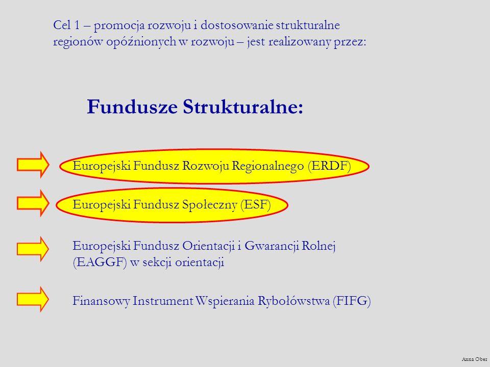 Fundusze Strukturalne: Europejski Fundusz Rozwoju Regionalnego (ERDF) Europejski Fundusz Społeczny (ESF) Europejski Fundusz Orientacji i Gwarancji Rolnej (EAGGF) w sekcji orientacji Finansowy Instrument Wspierania Rybołówstwa (FIFG) Cel 1 – promocja rozwoju i dostosowanie strukturalne regionów opóźnionych w rozwoju – jest realizowany przez: Anna Ober