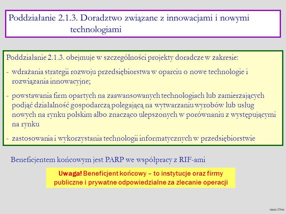 Poddziałanie 2.1.3. Doradztwo związane z innowacjami i nowymi technologiami Poddziałanie 2.1.3. obejmuje w szczególności projekty doradcze w zakresie: