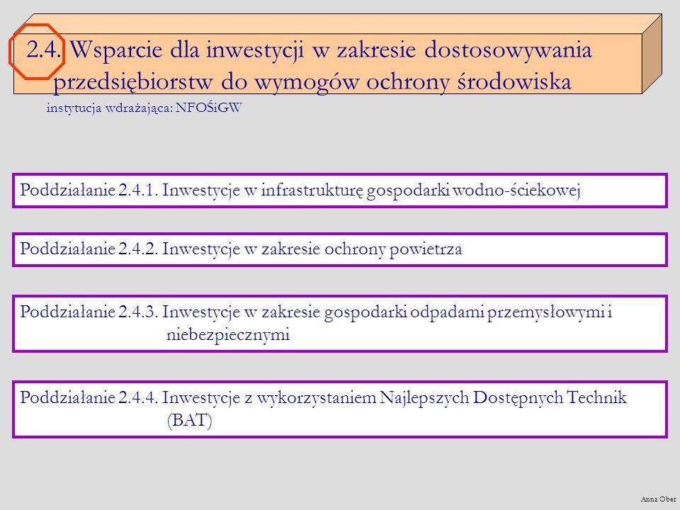 2.4. Wsparcie dla inwestycji w zakresie dostosowywania przedsiębiorstw do wymogów ochrony środowiska Poddziałanie 2.4.1. Inwestycje w infrastrukturę g