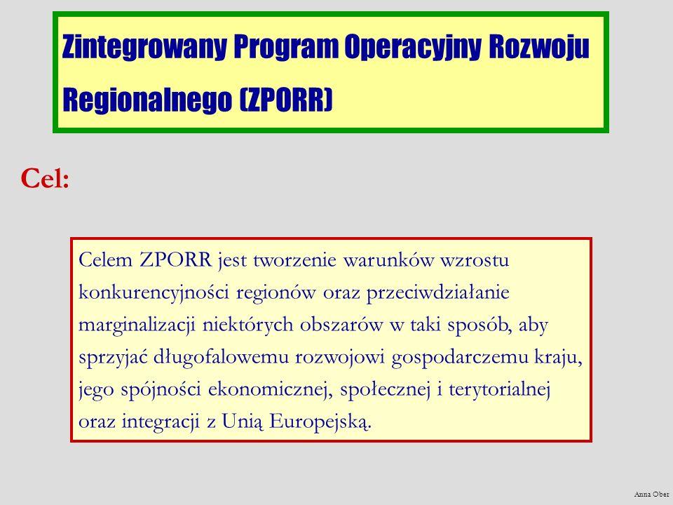 Zintegrowany Program Operacyjny Rozwoju Regionalnego (ZPORR) Cel: Celem ZPORR jest tworzenie warunków wzrostu konkurencyjności regionów oraz przeciwdziałanie marginalizacji niektórych obszarów w taki sposób, aby sprzyjać długofalowemu rozwojowi gospodarczemu kraju, jego spójności ekonomicznej, społecznej i terytorialnej oraz integracji z Unią Europejską.
