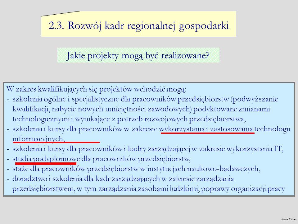 2.3. Rozwój kadr regionalnej gospodarki Jakie projekty mogą być realizowane? W zakres kwalifikujących się projektów wchodzić mogą: -s-szkolenia ogólne