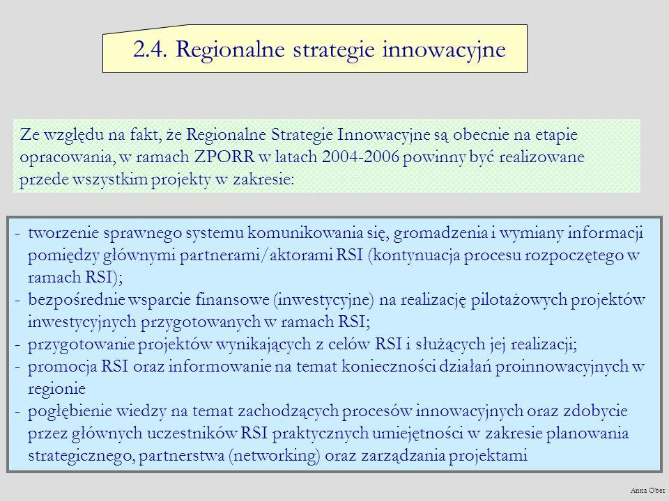 2.4. Regionalne strategie innowacyjne Ze względu na fakt, że Regionalne Strategie Innowacyjne są obecnie na etapie opracowania, w ramach ZPORR w latac