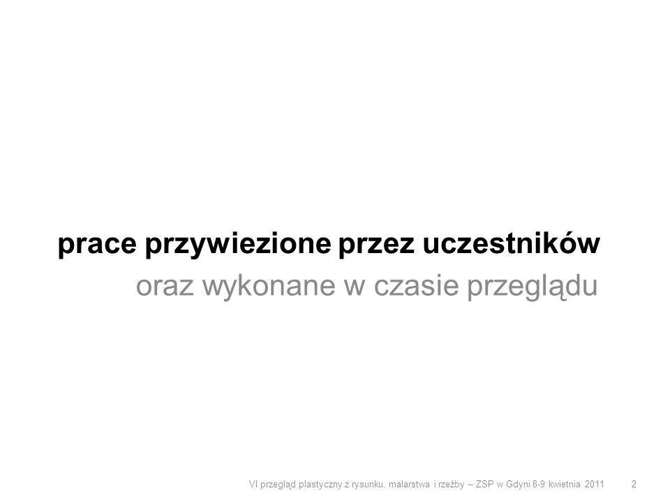 prace przywiezione przez uczestników oraz wykonane w czasie przeglądu VI przegląd plastyczny z rysunku, malarstwa i rzeźby – ZSP w Gdyni 8-9 kwietnia