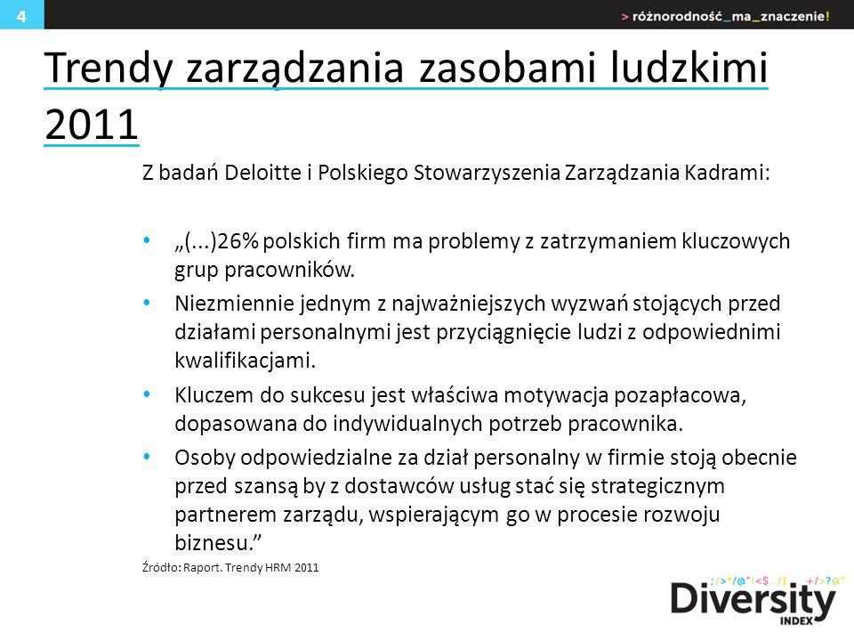 Trendy zarządzania zasobami ludzkimi 2011 Z badań Deloitte i Polskiego Stowarzyszenia Zarządzania Kadrami: (...)26% polskich firm ma problemy z zatrzymaniem kluczowych grup pracowników.