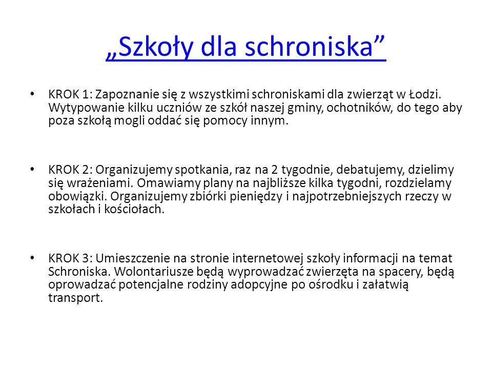 Szkoły dla schroniska KROK 1: Zapoznanie się z wszystkimi schroniskami dla zwierząt w Łodzi. Wytypowanie kilku uczniów ze szkół naszej gminy, ochotnik
