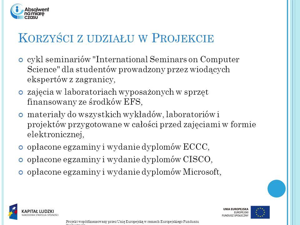 Projekt współfinansowany przez Unię Europejską w ramach Europejskiego Funduszu Społecznego K ORZYŚCI Z UDZIAŁU W P ROJEKCIE cykl seminariów International Seminars on Computer Science dla studentów prowadzony przez wiodących ekspertów z zagranicy, zajęcia w laboratoriach wyposażonych w sprzęt finansowany ze środków EFS, materiały do wszystkich wykładów, laboratoriów i projektów przygotowane w całości przed zajęciami w formie elektronicznej, opłacone egzaminy i wydanie dyplomów ECCC, opłacone egzaminy i wydanie dyplomów CISCO, opłacone egzaminy i wydanie dyplomów Microsoft,