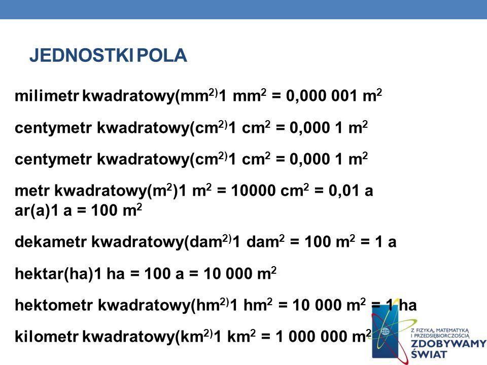 JEDNOSTKI POLA milimetr kwadratowy(mm 2) 1 mm 2 = 0,000 001 m 2 centymetr kwadratowy(cm 2) 1 cm 2 = 0,000 1 m 2 metr kwadratowy(m 2 )1 m 2 = 10000 cm