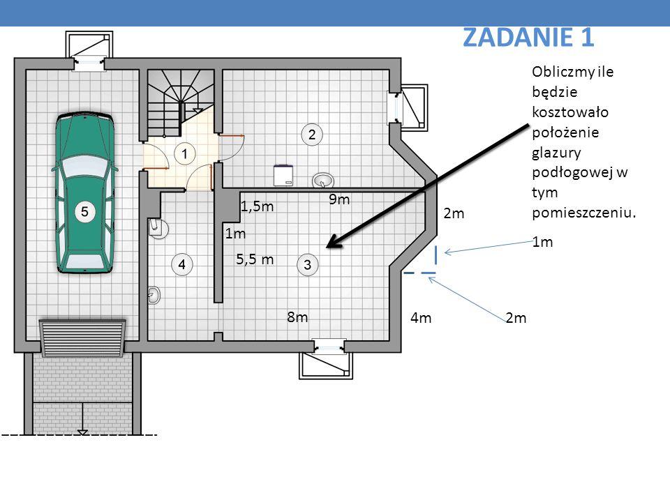 Obliczmy ile będzie kosztowało położenie glazury podłogowej w tym pomieszczeniu. 1m 8m 4m 5,5 m 1,5m 9m 2m 1m 2m ZADANIE 1