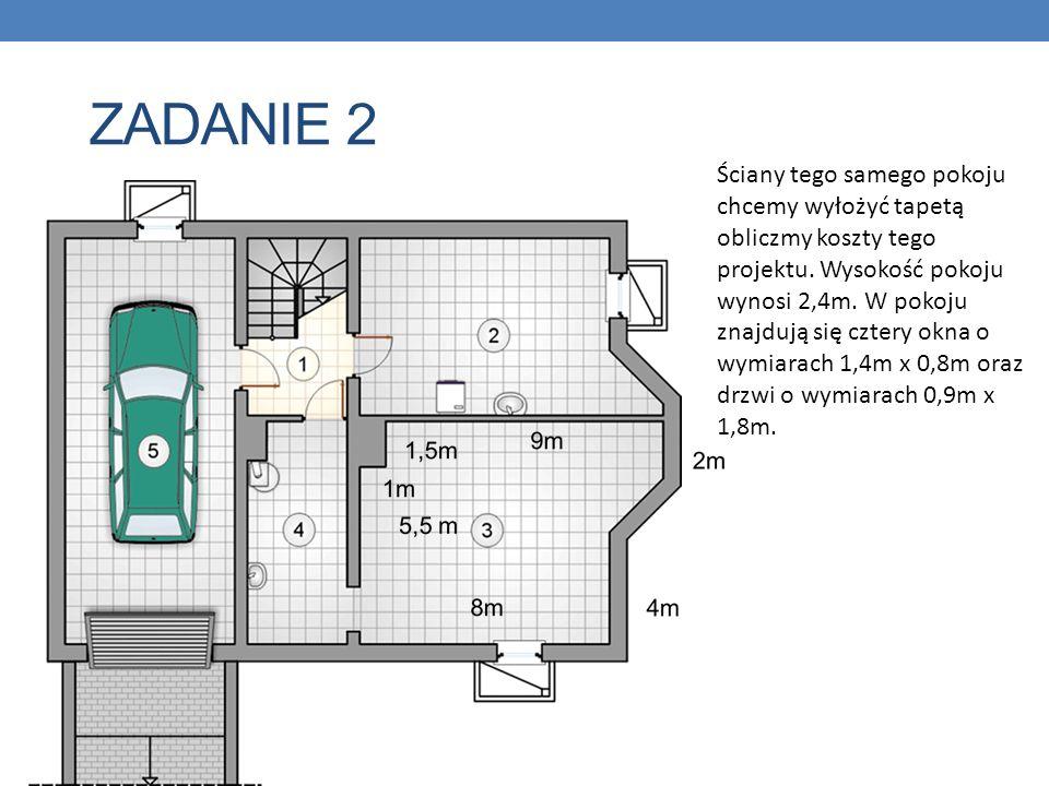 ZADANIE 2 Ściany tego samego pokoju chcemy wyłożyć tapetą obliczmy koszty tego projektu. Wysokość pokoju wynosi 2,4m. W pokoju znajdują się cztery okn