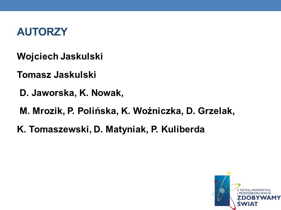 AUTORZY Wojciech Jaskulski Tomasz Jaskulski D. Jaworska, K. Nowak, M. Mrozik, P. Polińska, K. Woźniczka, D. Grzelak, K. Tomaszewski, D. Matyniak, P. K