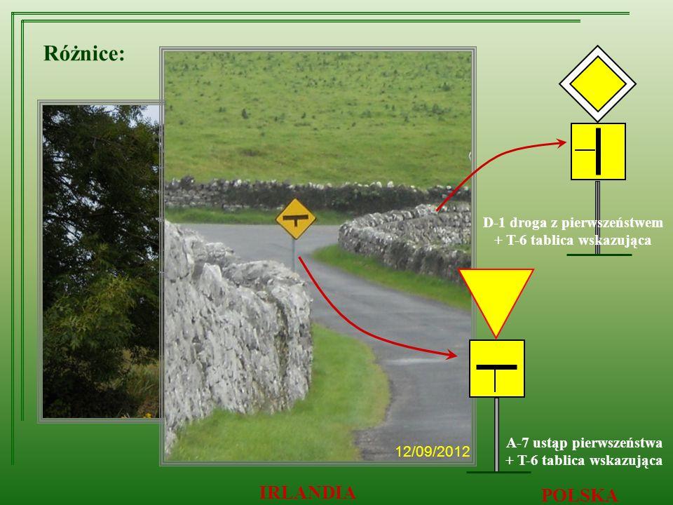 12/09/2012 IRLANDIA POLSKA Różnice: D-1 droga z pierwszeństwem + T-6 tablica wskazująca A-7 ustąp pierwszeństwa + T-6 tablica wskazująca 12/09/2012