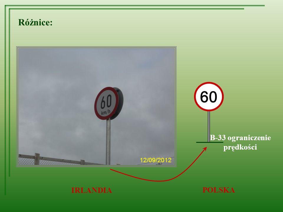 Różnice: B-33 ograniczenie prędkości IRLANDIA POLSKA 60 12/09/2012