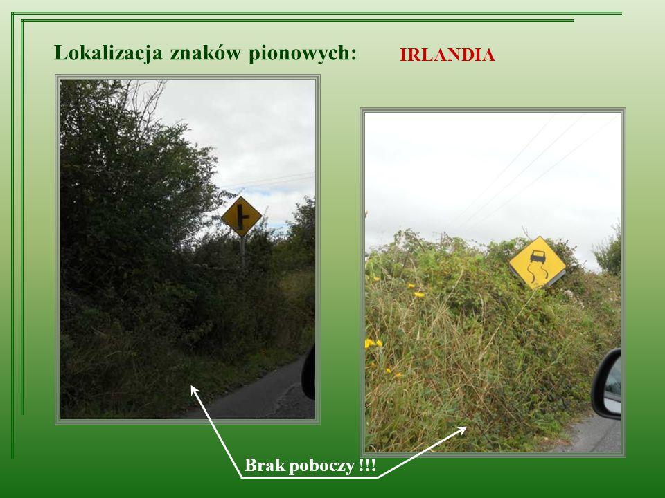 Lokalizacja znaków pionowych: IRLANDIA Brak poboczy !!!