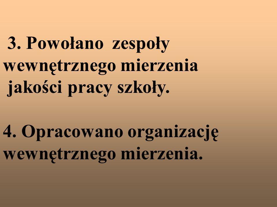 3. Powołano zespoły wewnętrznego mierzenia jakości pracy szkoły. 4. Opracowano organizację wewnętrznego mierzenia.