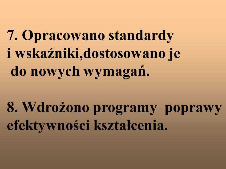 7. Opracowano standardy i wskaźniki,dostosowano je do nowych wymagań. 8. Wdrożono programy poprawy efektywności kształcenia.