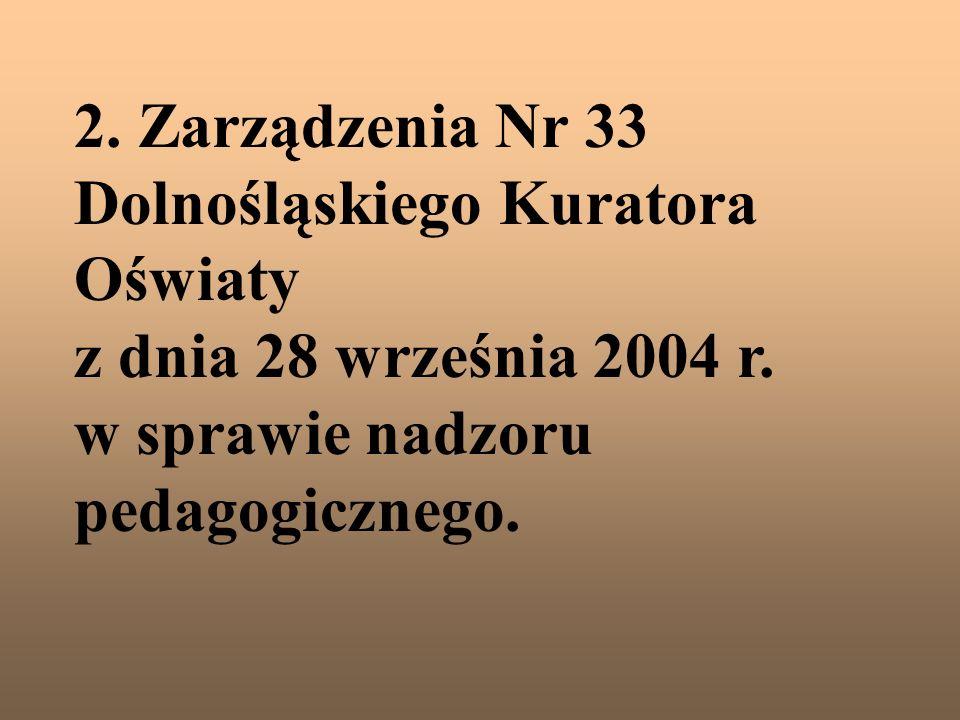 2. Zarządzenia Nr 33 Dolnośląskiego Kuratora Oświaty z dnia 28 września 2004 r. w sprawie nadzoru pedagogicznego.