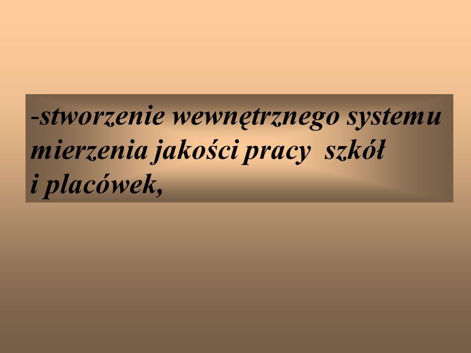 -stworzenie wewnętrznego systemu mierzenia jakości pracy szkół i placówek,