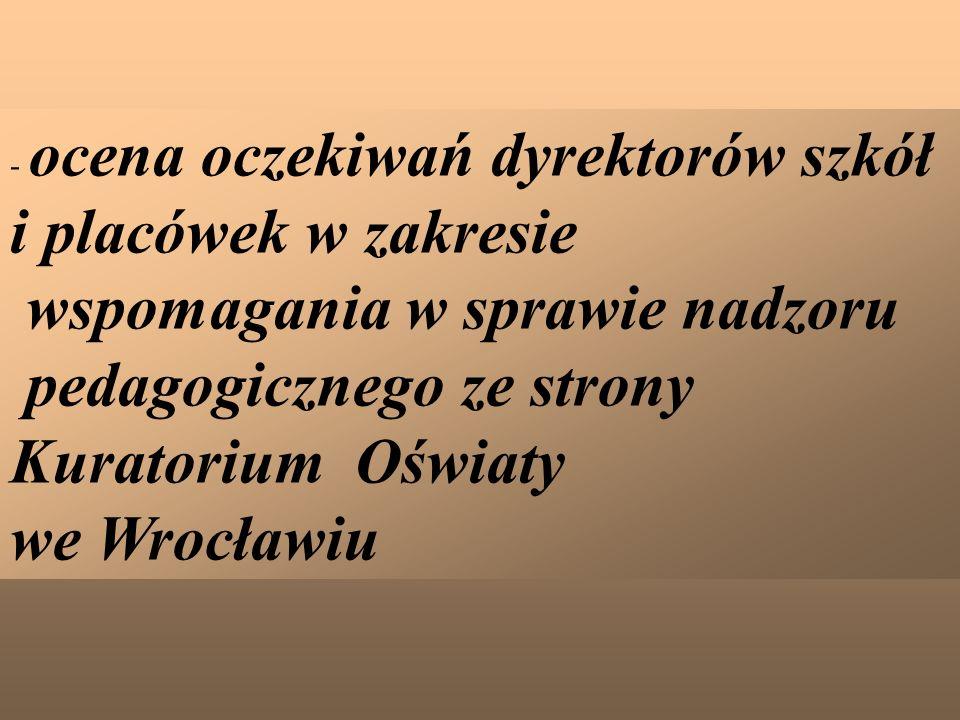 - ocena oczekiwań dyrektorów szkół i placówek w zakresie wspomagania w sprawie nadzoru pedagogicznego ze strony Kuratorium Oświaty we Wrocławiu