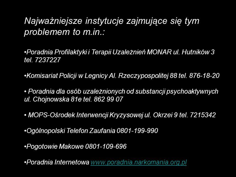 Najważniejsze instytucje zajmujące się tym problemem to m.in.: Poradnia Profilaktyki i Terapii Uzależnień MONAR ul. Hutników 3 tel. 7237227 Komisariat