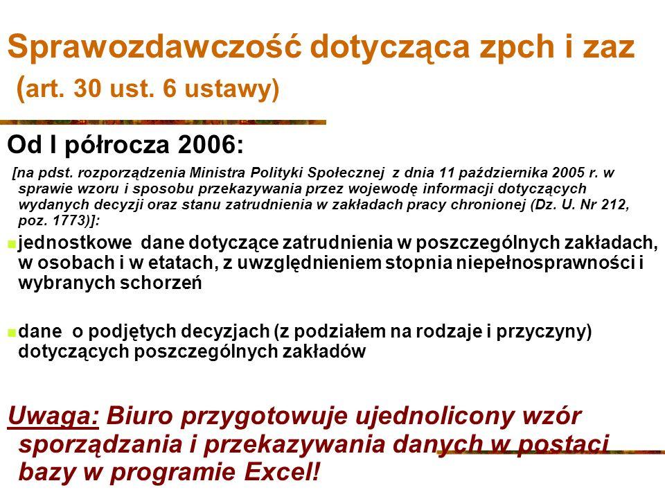 Sprawozdawczość dotycząca zpch i zaz ( art.30 ust.