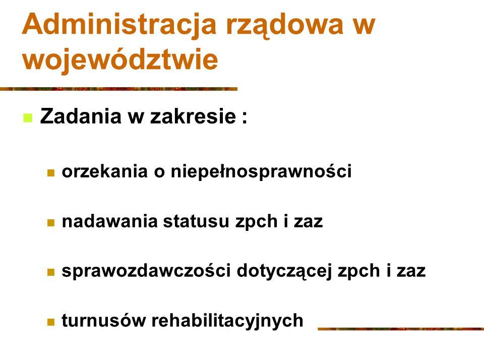 Administracja rządowa w województwie Zadania w zakresie : orzekania o niepełnosprawności nadawania statusu zpch i zaz sprawozdawczości dotyczącej zpch i zaz turnusów rehabilitacyjnych