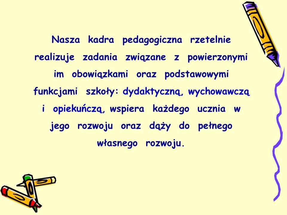 Nasza kadra pedagogiczna rzetelnie realizuje zadania związane z powierzonymi im obowiązkami oraz podstawowymi funkcjami szkoły: dydaktyczną, wychowawczą i opiekuńczą, wspiera każdego ucznia w jego rozwoju oraz dąży do pełnego własnego rozwoju.