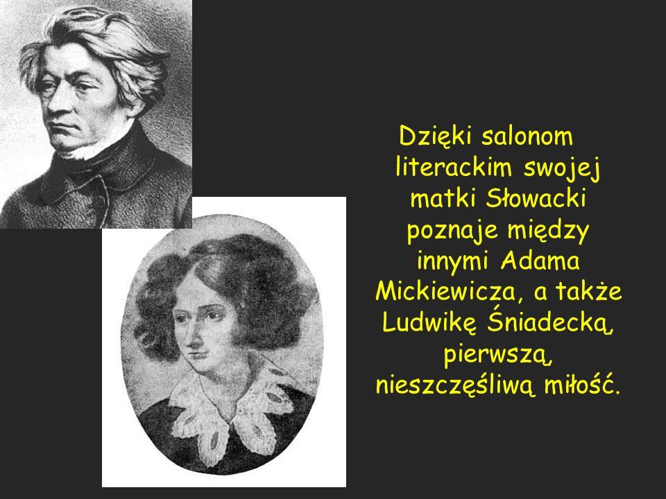 Dzięki salonom literackim swojej matki Słowacki poznaje między innymi Adama Mickiewicza, a także Ludwikę Śniadecką, pierwszą, nieszczęśliwą miłość.