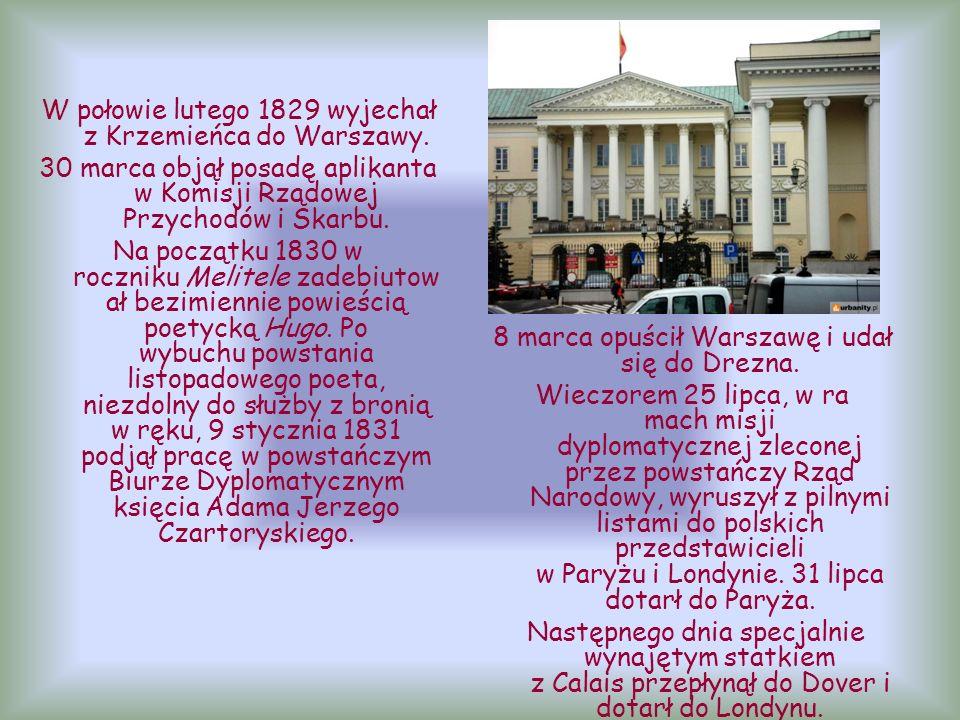 W połowie lutego 1829 wyjechał z Krzemieńca do Warszawy.