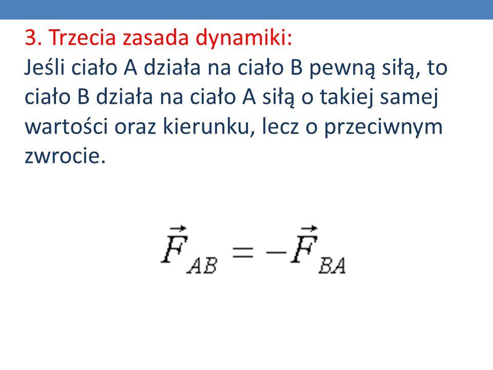 3. Trzecia zasada dynamiki: Jeśli ciało A działa na ciało B pewną siłą, to ciało B działa na ciało A siłą o takiej samej wartości oraz kierunku, lecz