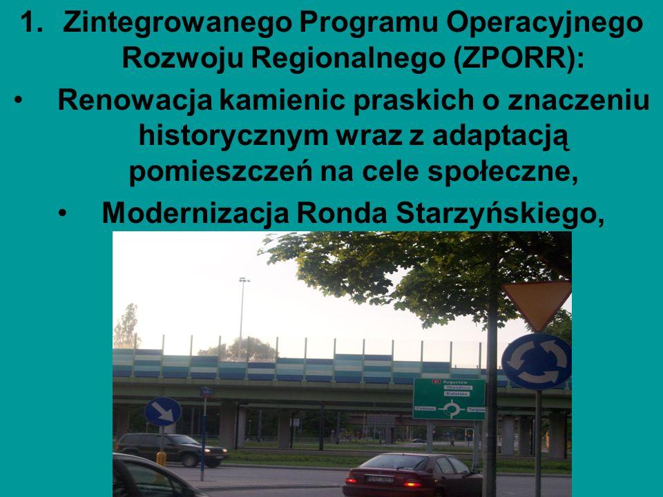 1.Zintegrowanego Programu Operacyjnego Rozwoju Regionalnego (ZPORR): Renowacja kamienic praskich o znaczeniu historycznym wraz z adaptacją pomieszczeń
