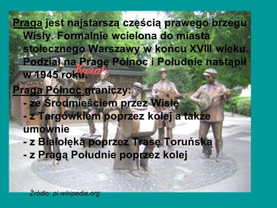 Praga jest najstarszą częścią prawego brzegu Wisły. Formalnie wcielona do miasta stołecznego Warszawy w końcu XVIII wieku. Podział na Pragę Północ i P