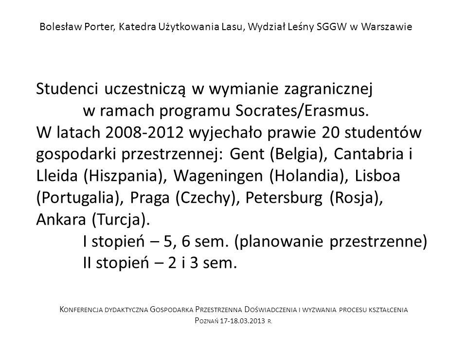 Studenci uczestniczą w wymianie zagranicznej w ramach programu Socrates/Erasmus.